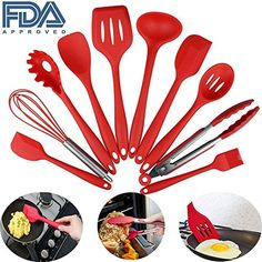 Silicone Kitchen Utensils Set of 10 Pieces Cooking Utensils in Hygienic Solid Coating Heat Resistant NonStick Baking BBQ Tools Red ** Read more at the image link. (This is an affiliate link and I receive a commission for the sales) #KitchenUtensils