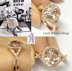 $773 Oval Morganite Engagement Ring Pave Diamond Wedding 14K Rose Gold 8x10mm