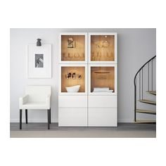 IKEA BESTÅ storage combination w glass doors Ikea Dining Room, Dining Room Storage, Vitrine Ikea, Home Living Room, Living Room Decor, Cheap Furniture, Shelving, New Homes, Decoration