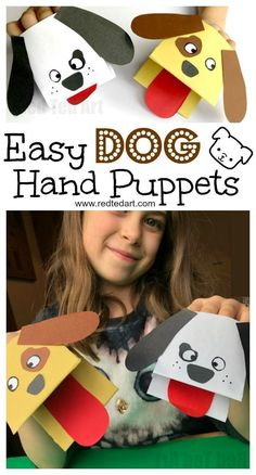 Paper Dog Hand Puppet. Oh my, these Dog Paper Puppets are just SO CUTE! And not just cute but ridiculously EASY to make. If you love Dog Crafts for Kids and need a quick and easy Paper Dog DIY, do check these out.. so fun!!! #Dog #dogs #dogcrafts #dogdiy