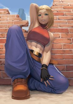 Blue Mary King Of Fighters Art Of Fighting, Fighting Games, Female Character Design, Game Character, Snk King Of Fighters, Street Fights, Tough Girl, Muscle Girls, Poses