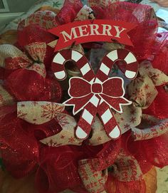 Shabby chic red wreath with Burlap ribbons $40
