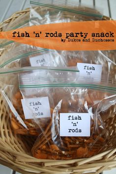 What camping adventure would be complete without a some fresh fish off the rod? No worries if anyone is allergic to seafood. Randi from Dukes & Duchesses created this fun Fish 'n' Rods snack for little birthday guests to enjoy at a camping-inspired party. Retirement Parties, First Birthday Parties, Boy Birthday, First Birthdays, Birthday Ideas, First Birthday Camping Theme, Camp Birthday Party, Princess Birthday, Snacks Für Party