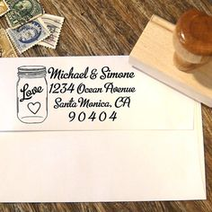 Address stamp with a mason jar, heart and calligraphy font by Designkandy, $29.00