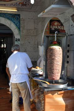 Döner Kebab - this one is ready to start cooking; marinated meat is layered to make the giant kebab then roasted slowly as the spit rotates...