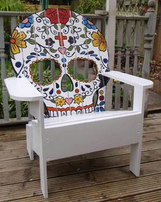 Classic Summer Furniture: The Adirondack Chair Skull Furniture, Garden Furniture, Cool Furniture, Painted Furniture, Furniture Ideas, Sugar Skull Decor, Sugar Skulls, Day Of The Dead Art, Painted Chairs