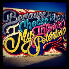 Because I Choose to Use My Infinite Potential, by Queen Andrea and Aoki. Welling Court, Astoria, Queens, NYC.