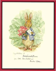 ORIGINAL ART: PETER RABBIT by POTTER, BEATRIX   POTTER, BEATRIX. POTTER,BEATRIX.  ORIGINAL ART: PETER RABBIT.  Offered here is an exquisite ink and watercolor drawing of Peter Rabbit, presented by Potter to Anne Carroll Moore, the influential and opinionated head of children's library services for...  more   Offered By  Aleph-Bet Books, Inc.