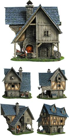 Fantasy terrain by Tabletop World September Blacksmith's Forge released) - Forum - DakkaDakka All hail the mighty Primarch Russ! Casa Medieval Minecraft, Medieval Houses, Building Concept, Building Design, 3d Building, Environment Concept Art, Environment Design, Game Environment, Fantasy House