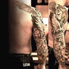 full sleeve angel tattoo for men                                                                                                                                                                                 More