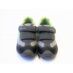 Boys Geox Trainer - J Arno Grey Mesh Trainer With Velcro Straps
