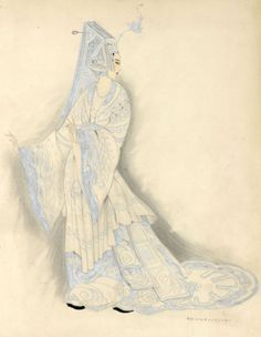 Umberto Brunelleschi (1879 -1949, Italy), 1926, Costume Design for Turandot Opera by Giacomo Puccini, Teatro dell'Opera, Roma, Pencil, Tempera.