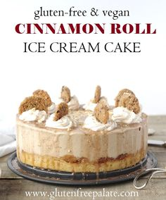 Gluten-Free Vegan Cinnamon roll cake topped with creamy So Delicious Dairy Free Snickerdoodle non-dairy frozen dessert, whipped cream, and snickerdoodle cookies, make this Gluten-Free Vegan Cinnamon Roll Ice Cream Cake and unique and scrumptious frozen treat.