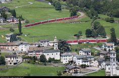 53, 51 RhB - Rhätische Bahn ABe 4/4 at Brusio, Switzerland by Georg Trüb