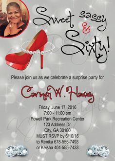 60th birthday invitation, sweet, sassy, and sixty, red black theme, heels…