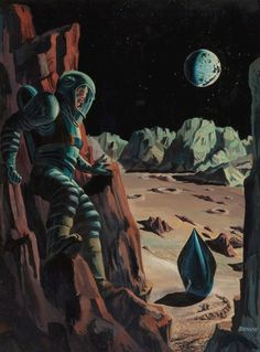 Don't know John Bunch and couldn't find any info on him. Just love this spaceman clinging to a rock face while apparently being hunted by armed men exiting a spacecraft below. Sinister.