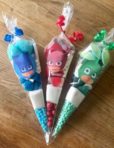 masks Birthday Party sweet cones favours by Sweet Mafia masks Birthday Party sweet cones favours byYou can find Masks and more o. 3rd Birthday Party For Boy, Pj Masks Birthday Cake, Third Birthday, Birthday Party Themes, Pj Masks Party Favors, Festa Pj Masks, Pjmask Party, Party Ideas, Mafia Party