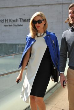 New York #StreetStyle by Joanna Hillman, Senior Market Editor of Harper's Bazaar - love that cobalt moto