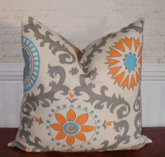 Decorative Pillow Cover: Designer Suzani 18 X 18 Accent Throw Pillow Cover in Gray, Turquoise and Tangerine
