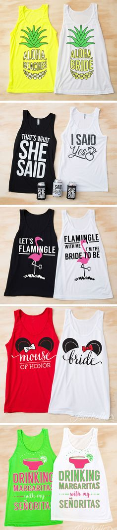 The CUTEST and funniest bachelorette party shirts for your bachelorette party! Our tanks will fit and flatter everyone in your party at prices that won't break the bank! Pineapple themed bachelorette party shirts, funny bachelorette party shirts, margaritas, flamingo bachelorette party shirts and Disney bachelorette party shirts just to name a few! Plus lots of bachelorette party and bridal ideas! ♥ BACHETTE.COM