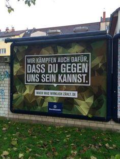 Holla! Es ist gar nicht so einfach eine überzeugende Headline für die Bundeswehr zu schreiben. Aber irgendjemand hat's jetzt doch geschafft. Der Betrachter liest das Ding, denkt