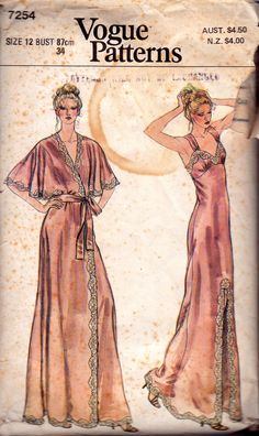Vogue 7254 Maxi Length Nightgown & Robe Vintage Sewing Pattern Boho 70s sleepwear Size 12 Bust 34 inches
