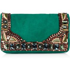 Matthew Williamson Embellished suede clutch (€675) ❤ liked on Polyvore featuring bags, handbags, clutches, purses, bolsas, emerald, flap purse, blue clutches, blue handbags and suede purse