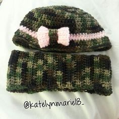Camo crochet hat and beanie, made by me :)