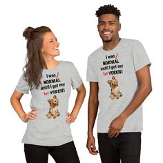 A light gray t-shirt for Yorkie mom and parent from our new collection, Almost normal.