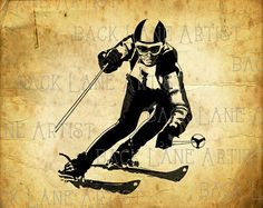 Ice Skiing Sports Silhouette Clipart by BackLaneArtist on Etsy