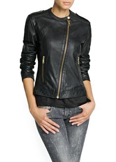 MANGO - CLOTHING - Jackets - LEATHER BIKER JACKET