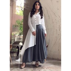 Image may contain: 1 person, standing Indian Fashion Dresses, Indian Gowns Dresses, Indian Designer Outfits, Pakistani Dresses, Fashion Wear, Indian Outfits, Designer Dresses, Fashion Outfits, Kurta Designs