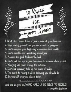 10 rules for happy living