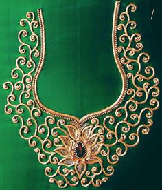 #Intricate Embroidery #golden thread work #green