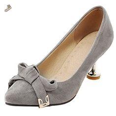 8cb18b6022f Aisun Women s Elegant Low Cut Pointed Toe Dress Stiletto Kitten Heels Slip  On Wedding Pumps Shoes With Bows (Gray