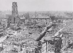 1940 after hundreds of Hitler's bombs are dropped on Rotterdam.