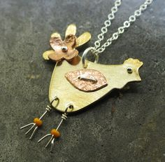 Chicken Necklace  in copper sterling silver and by KathrynRiechert