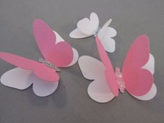 butterflies, wall butterflies, assorted butterfly silhouettes(White and Pink with glitter) Diy Butterfly Decorations, Butterfly Theme Party, Butterfly Centerpieces, Butterfly Crafts, Paper Butterflies, Paper Flowers Diy, Diy Paper, Paper Crafts, Pink Crafts