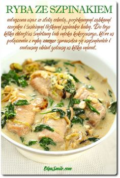 Fish with spinach - Fish with spinach recipe - Fish with spinach recipes Nutritional Value Of Spinach, Spinach Benefits, Healthy Brain, Spinach Recipes, Fish Dishes, Fish And Seafood, Cheeseburger Chowder, Feta, Curry