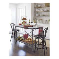 french kitchen island with marble top
