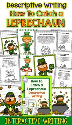 This no-prep, 41 page pack is a sure-fire way to interest students in learning about adjectives and descriptive writing for St. Patrick's Day! Perfect for a quick literacy activity in March or to add to your literacy centers. #StPatricksDayActivities #AdjectiveActivities #Writing #TeacherFeatures #DescriptiveWriting #StPatrickDayWriting #2ndGrade #SecondGrade #3rdGrade #ThirdGrade #4thGrade  #FourthGrade