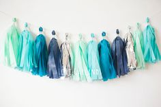 Lets celebrate with the Mint Aqua Teal Navy Silver tissue tassel garland! This tissue tassel garland is great for: weddings bridal showers birthday