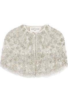 SUMMER BREEZE: Needle & Thread's cape is the perfect addition to your post-ceremony outfit, especially if your reception is hosted outdoors. Intricately hand-embellished with scores of sequins, beads and crystals that form a stunning floral motif, capes have never looked so fashionable. Made from delicate ivory tulle, it's an elegant layering piece for brides-to-be.