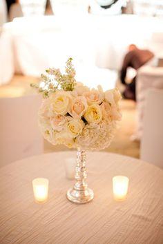 Creamy florals + tealights reception wedding flowers,  wedding decor, wedding flower centerpiece, wedding flower arrangement, add pic source on comment and we will update it. www.myfloweraffair.com can create this beautiful wedding flower look.