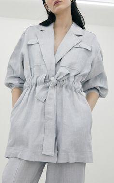 Iranian Women Fashion, Wide Leg Linen Pants, Casual Outfits, Fashion Outfits, Linen Jackets, Looks Chic, Linen Blazer, Drawstring Pants, Blazer Dress