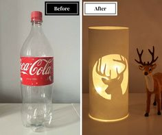 DIY-idea: Make a beautiful lamp from Coca Cola bottle./ DIY valaisin. Tyhjästä Coca Cola -pullosta tehty tunnelmavalaisin. Watch video tutorial: https://www.youtube.com/watch?v=X15hz4tBKT0