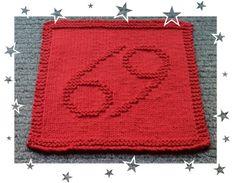 Cancer Zodiac Symbols, Dishcloth, Squares, Knitting Patterns, Cancer, How To Make, Decor, Knit Patterns, Decoration