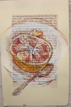 Eat OOAK original mixed media drawing on vintage by rowenamurillo