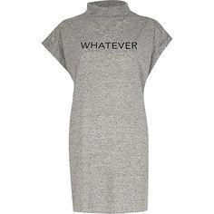 Grey whatever turtle neck oversized t-shirt £24 #riverisland