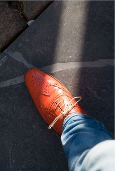 #orange #shoes #brogues